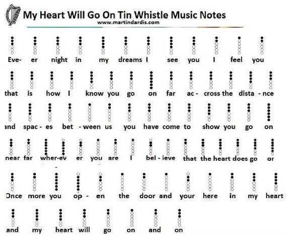 Violin violin chords my heart will go on : My Heart Will Go On Tin Whistle Letter Notes music - Irish folk songs