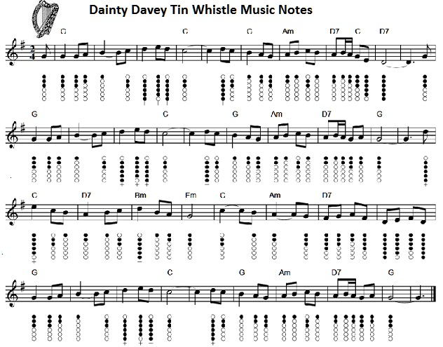 dainty davey sheet music and tin whistle notes