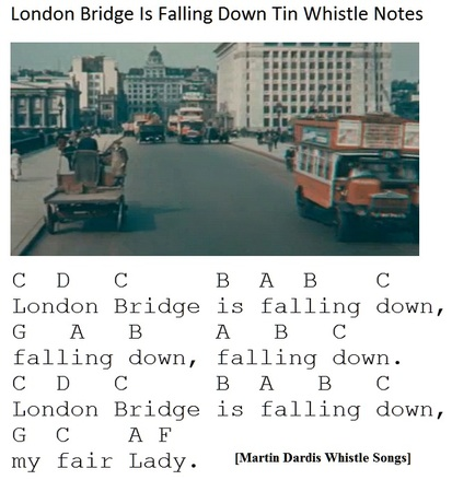 London Bridge Is Falling Down Tin Whistle Notes for children