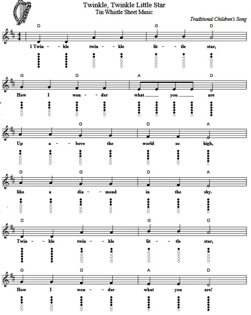 twinkle twinkle little star sheet music and tin whistle notes