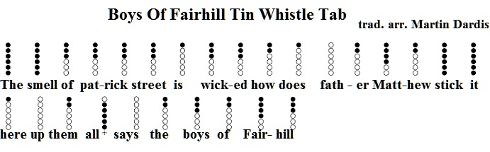 The boys of fairhill tin whistle sheet music