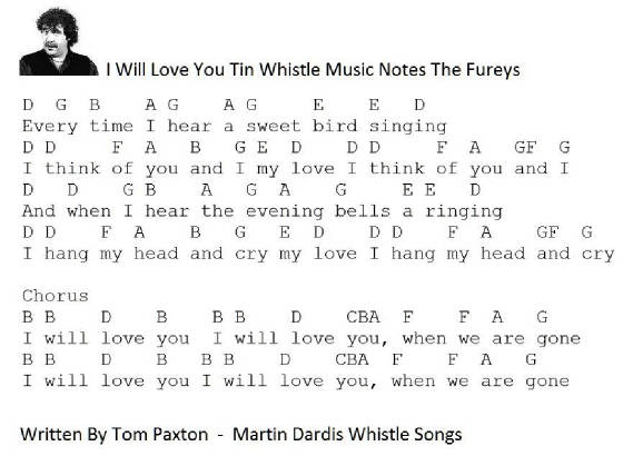 I Will Love You Lyrics Chords And Tin Whistle Sheet Music Irish