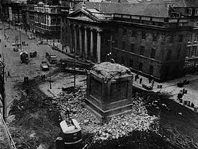 Nelson's Pillar after it was blown up in 1966