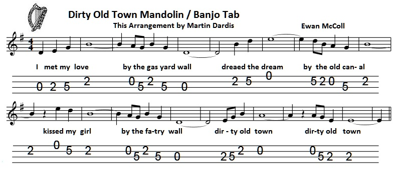 Banjo simple banjo tabs : Dirty Old Town Banjo / Mandolin Tab - Irish folk songs