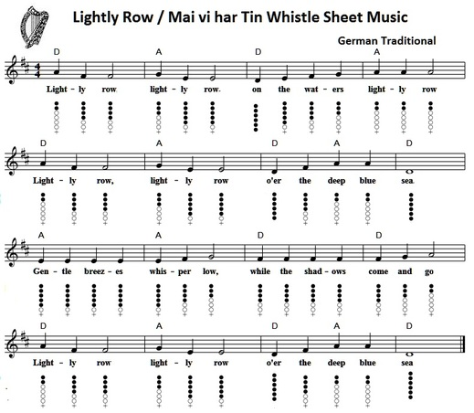 Guitar Chords And Lyrics For Beginners Irish Songs: Lightly Row Tin Whistle Sheet Music