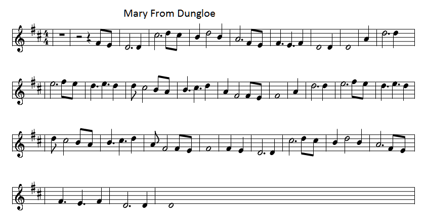 Mary From Dungloe Lyrics And Guitar Chords Irish Folk Songs