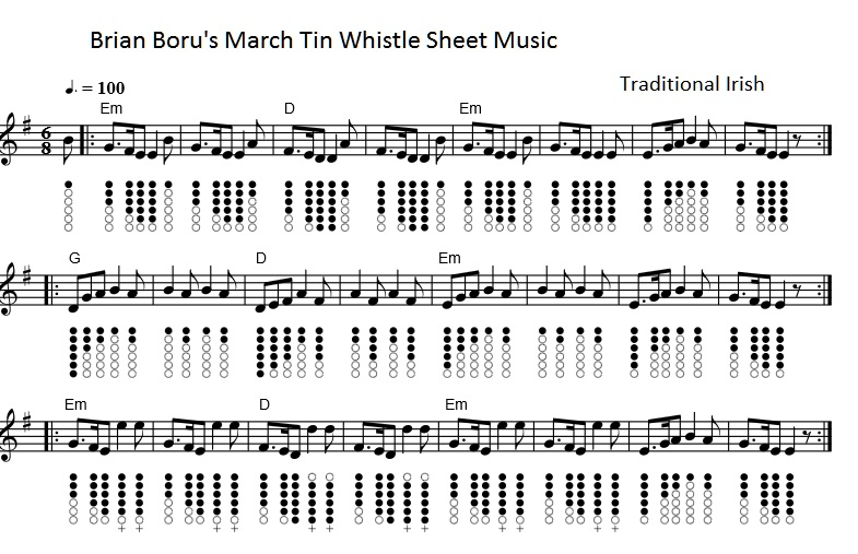 Brian borus march tin whistle sheet music notes
