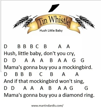 Hush Little Baby Don't You Cry Sheet Music And Tin Whistle Notes ...