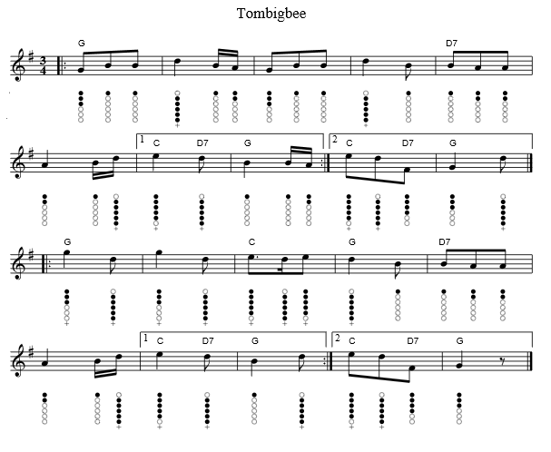 Tombigbee Waltz tin whistle sheet music notes