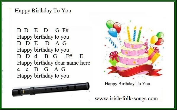 Happy birthday easy version for tin whistle