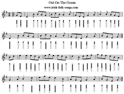 Out on the ocean tin whistle sheet music