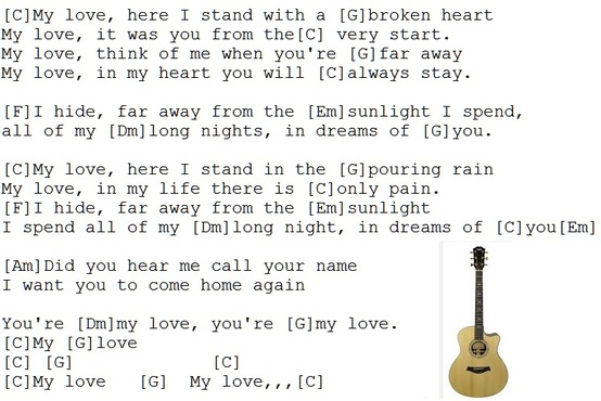 My love lyrics and chords by Joe Dolan