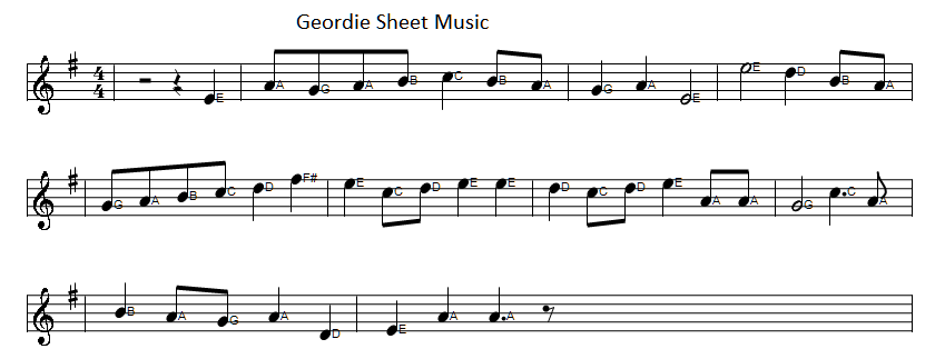 Geordie sheet music in the key of G Major