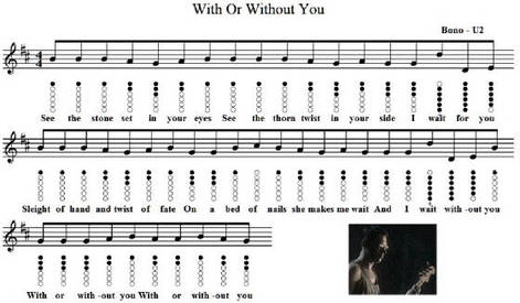 with or without you tin whistle sheet music
