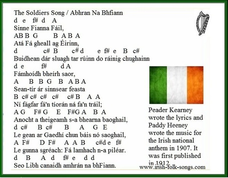 Guitar national anthem guitar tabs : The Irish National Anthem tin whistle notes - Irish folk songs