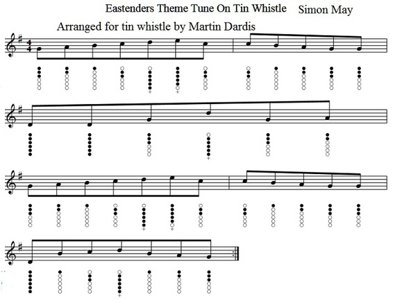 eastenders tin whistle sheet music notes