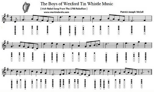 boys of wexford tin whistle sheet music