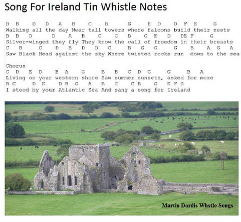 a song for Ireland tin whistle notes