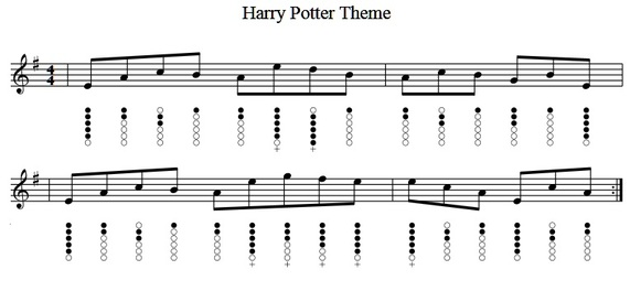 Super Harry Potter Theme Tune Sheet Music For Tin Whistle - Irish folk songs PA49