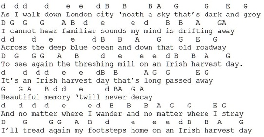 An Irish Harvest Day Song Lyrics And Guitar Chords Irish Folk Songs