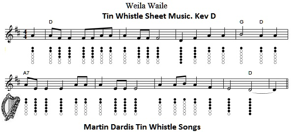 Weile Waila Sheet Music and tin whistle notes