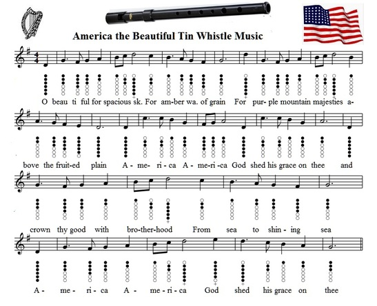 america is beautiful tin whistle sheet music notes