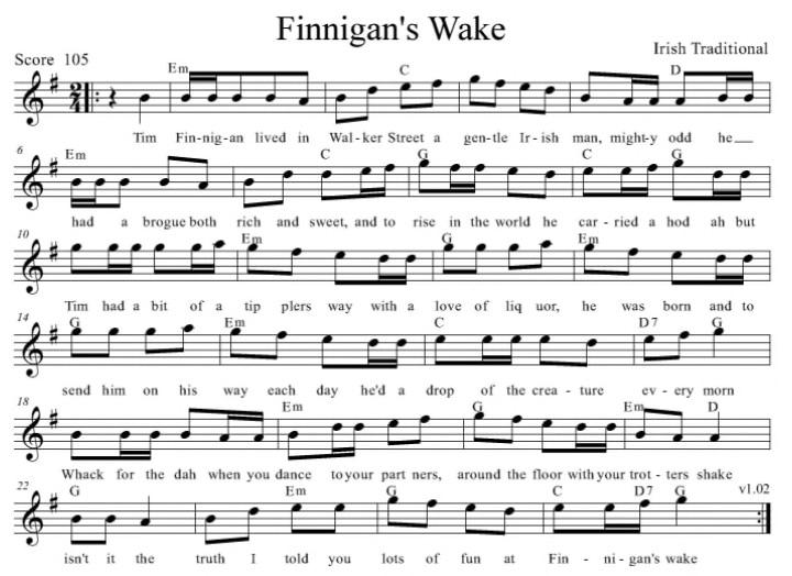 Finnigans wake sheet music