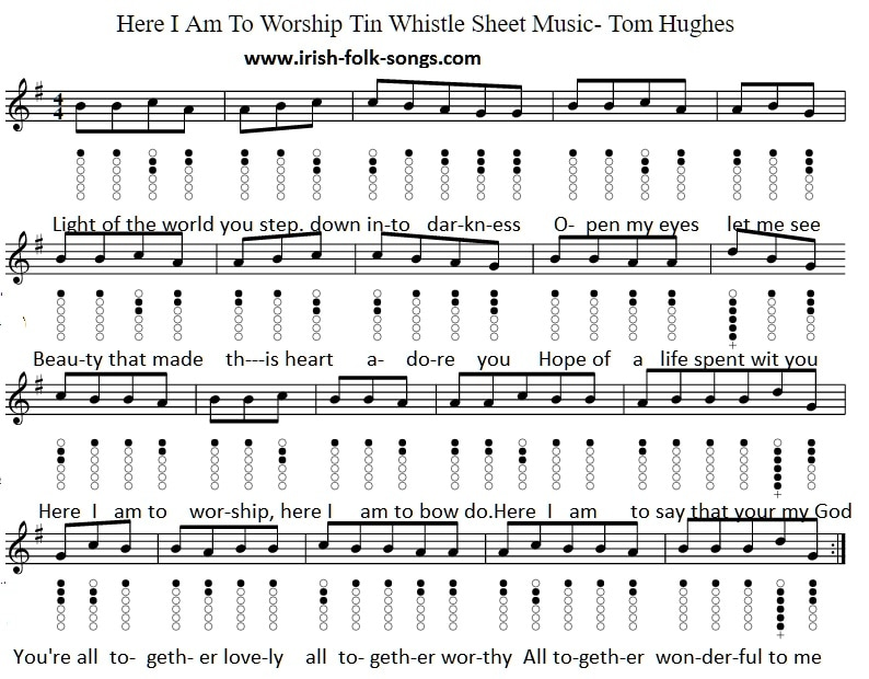 Piano piano sheet music with letters : Here I Am Lord Tin Whistle And Piano Keyboard Notes - Irish folk songs