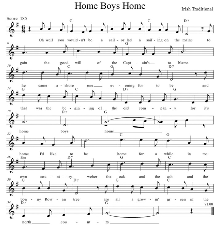 Home Boys Home Guitar Chords And Lyrics By The Dubliners Irish