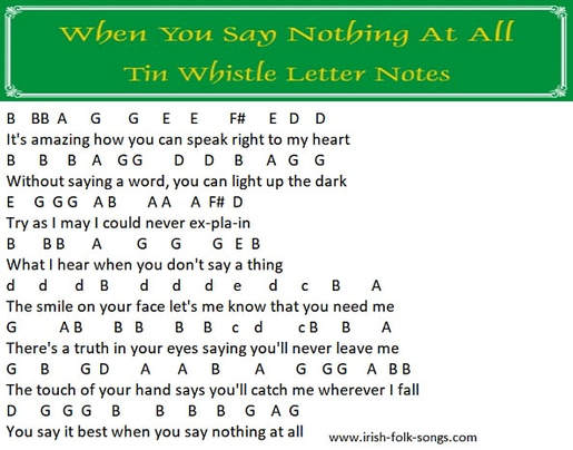 Boyzone whistle notes in letters for when you say nothing at all