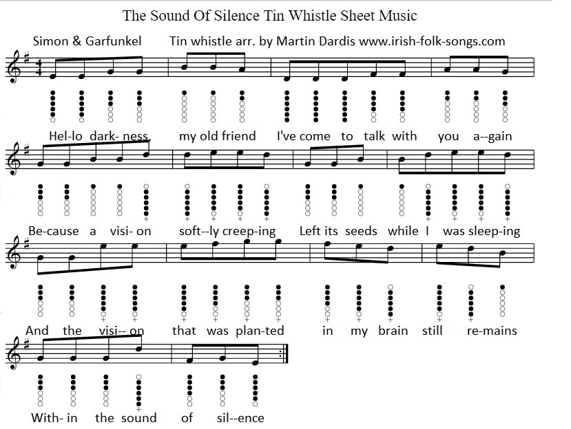 All Music Chords hello sheet music : The Sound Of Silence Tin Whistle Sheet Music - Irish folk songs