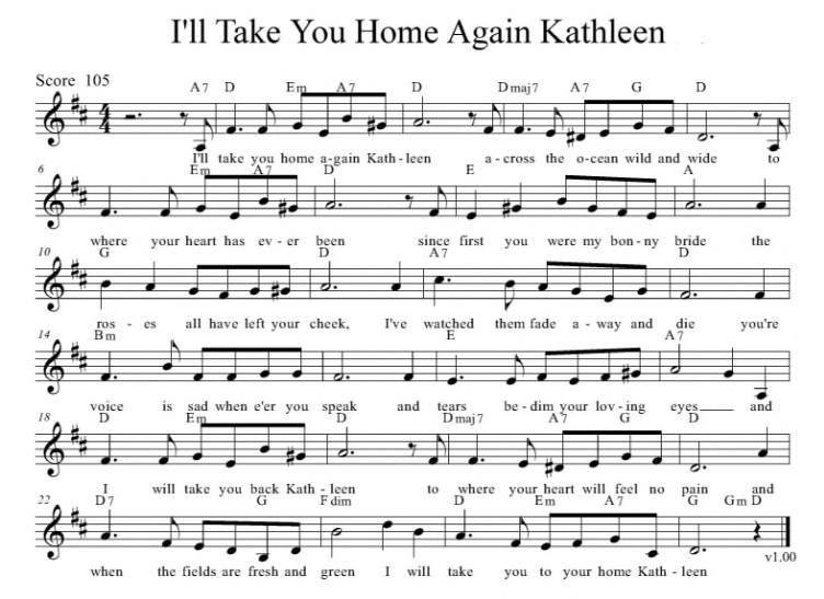 Tae you home kathleen sheet music