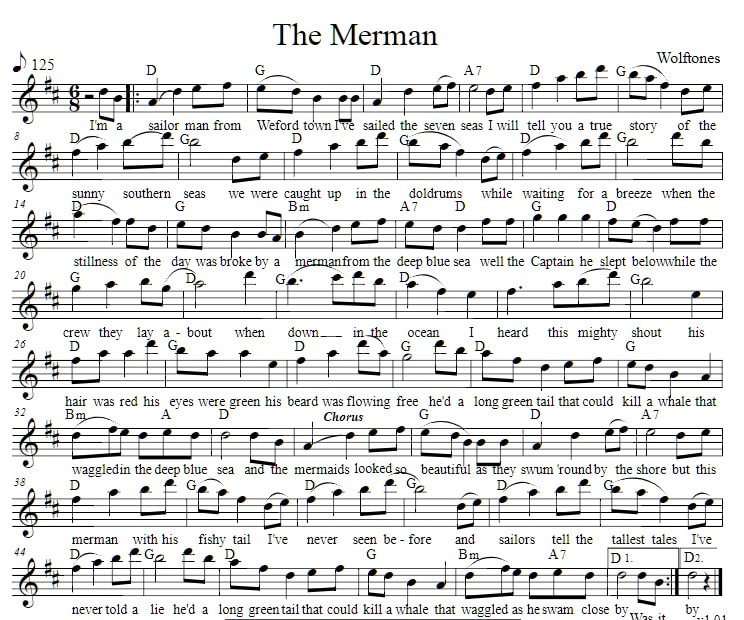 Guitar Chords And Lyrics For Beginners Irish Songs: The Merman Lyrics And Guitar Chords