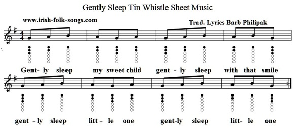 Gently sleep tin whistle sheet music notes