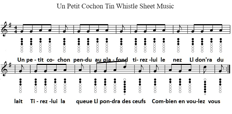 Un Petit Cochon Tin Whistle Sheet Music