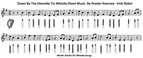 Down By The Glenside Sheet Music And Tin Whistle Notes