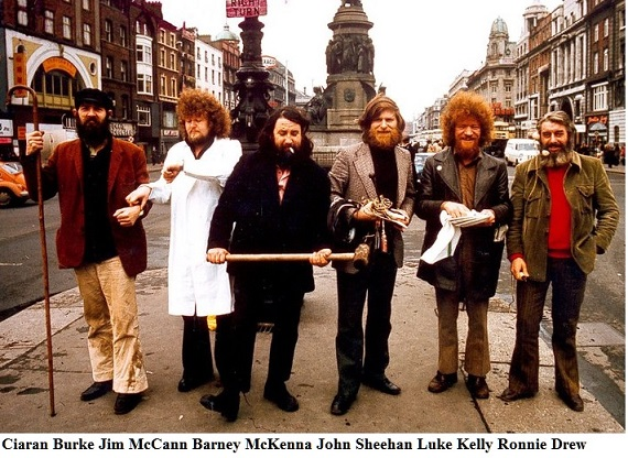 The Dubliners folk group on O'Connell Street Dublin