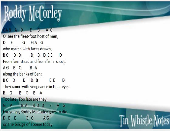 Roddy McCorley letter notes