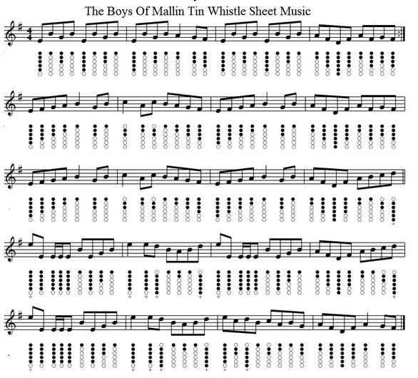 the boys of Malin tin whistle sheet music