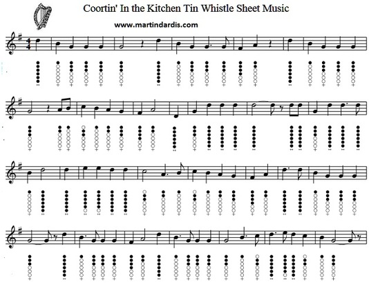 Courtin In The Kitchen Sheet Music And Tin Whistle Notes