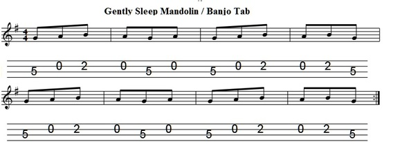 Gently sleep mandolin and banjo tab