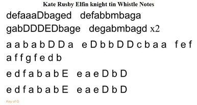 Elfin Knight tin whistle notes by Kate Rusby