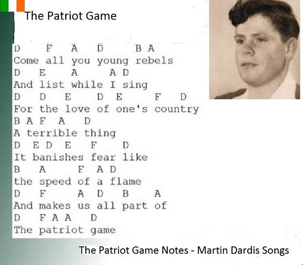 The Patriot Game music letter notes.