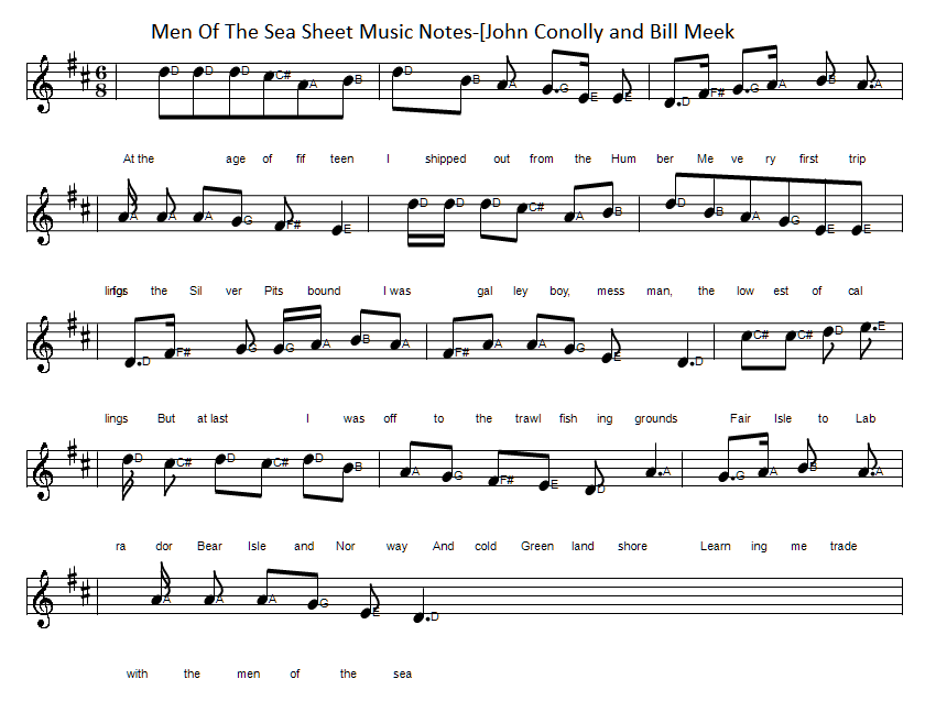 Men of the sea sheet music notes