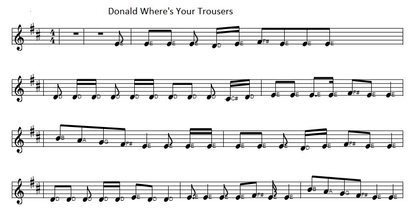 sheet music for Donald Where's Your Trousers