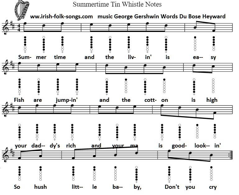 Summertime tin whistle sheet music