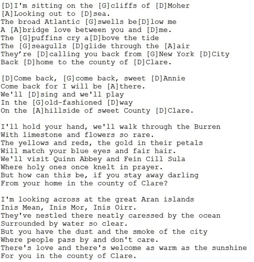 The cliffs of moher lyrics and chords by P.J. Murrihy