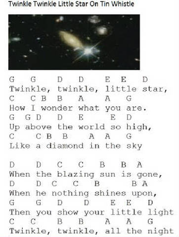 Twinkle Twinkle Little Star letter notes