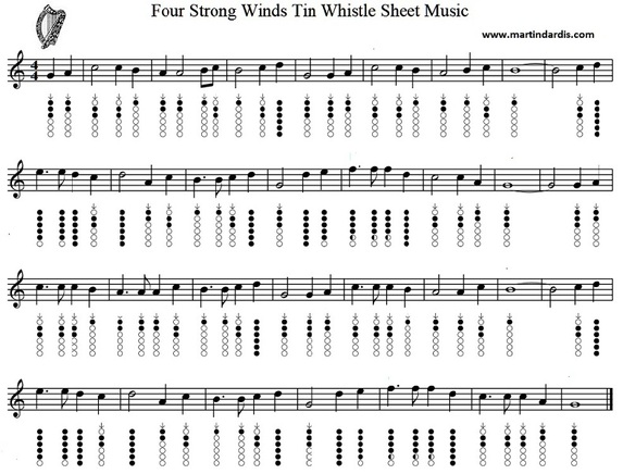 Four strong winds sheet music notes