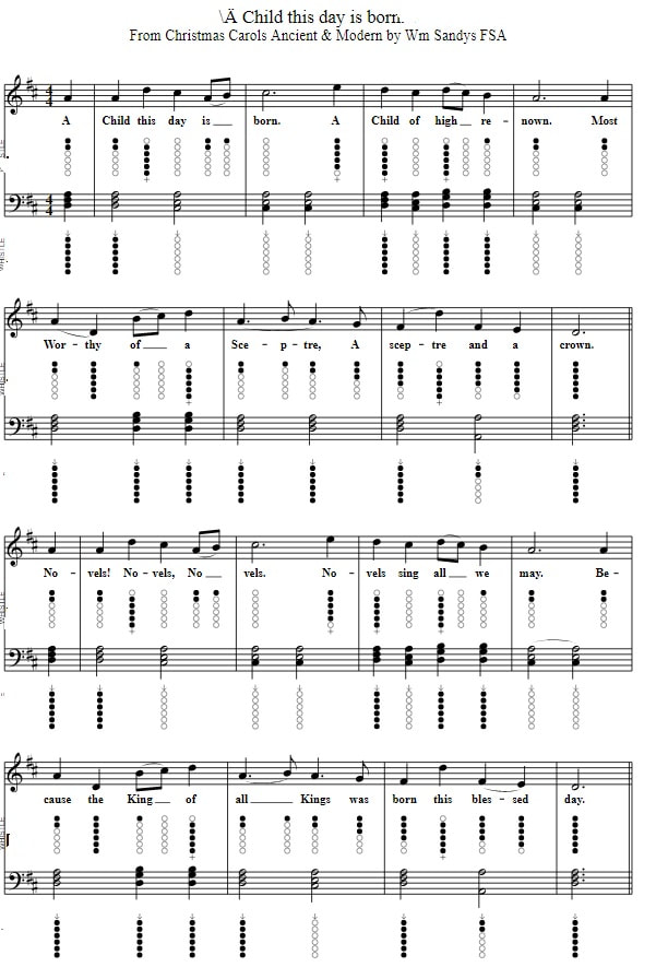 A Child this day is born tin whistle sheet music in D Major